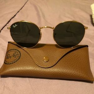Ray-Ban round medal sunglasses gold/green